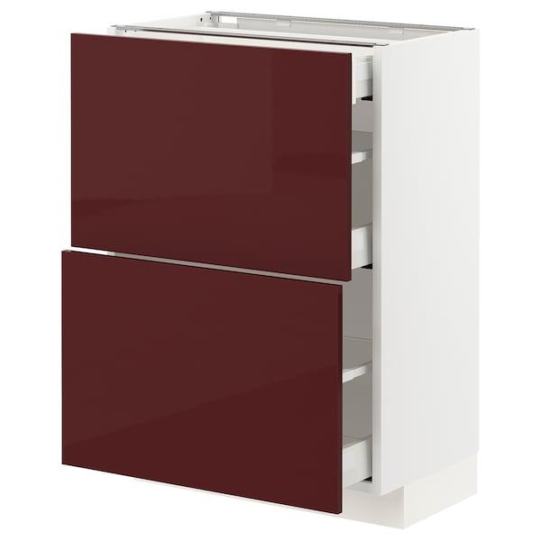 METOD / MAXIMERA Élément bas 2 faces/3 tiroirs, blanc Kallarp/brillant brun-rouge foncé, 60x37 cm
