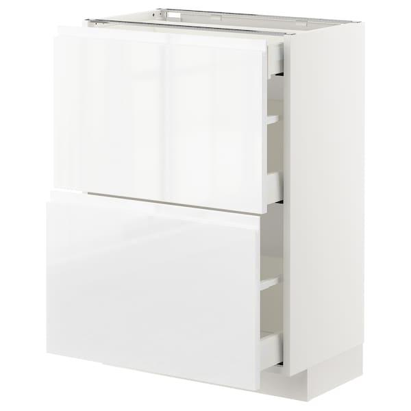 METOD / MAXIMERA Élément bas 2 faces/3 tiroirs, blanc/Voxtorp brillant/blanc, 60x37 cm