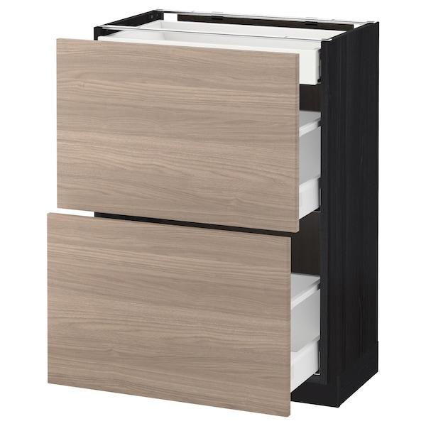METOD / MAXIMERA Élément bas 2 faces/3 tiroirs, noir/Brokhult gris clair, 60x37 cm