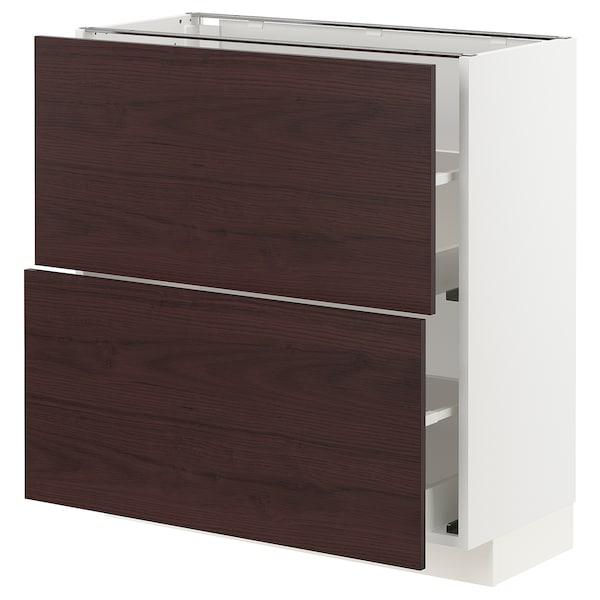 METOD / MAXIMERA Élément bas 2 tiroirs, blanc Askersund/brun foncé décor frêne, 80x37 cm