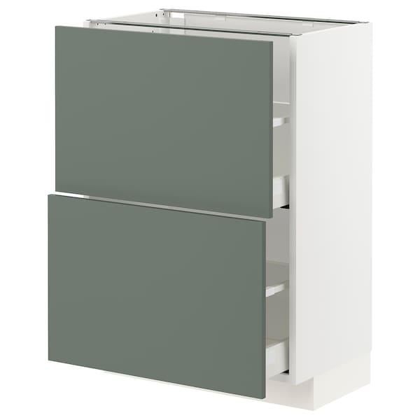 METOD / MAXIMERA Élément bas 2 tiroirs, blanc/Bodarp gris vert, 60x37 cm
