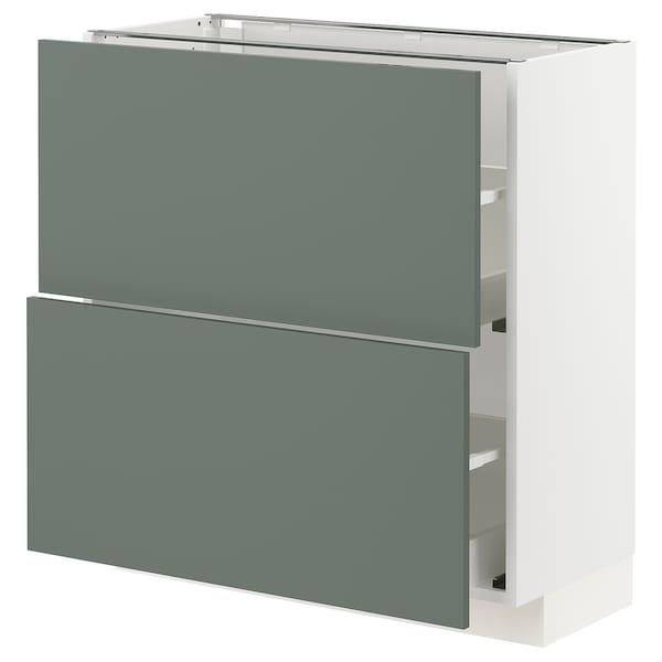 METOD / MAXIMERA Élément bas 2 tiroirs, blanc/Bodarp gris vert, 80x37 cm