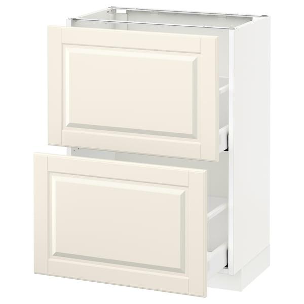 METOD / MAXIMERA Élément bas 2 tiroirs, blanc/Bodbyn blanc cassé, 60x37 cm