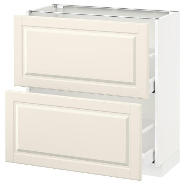 METOD / MAXIMERA Élément bas 2 tiroirs, blanc/Bodbyn blanc cassé, 80x37 cm