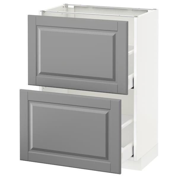 METOD / MAXIMERA Élément bas 2 tiroirs, blanc/Bodbyn gris, 60x37 cm