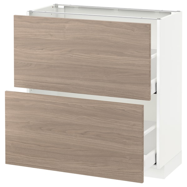 METOD / MAXIMERA Élément bas 2 tiroirs, blanc/Brokhult gris clair, 80x37 cm