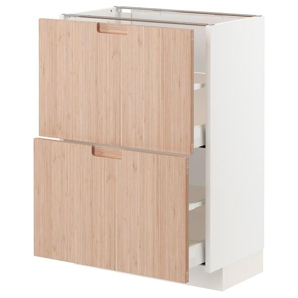 METOD / MAXIMERA Élément bas 2 tiroirs, blanc/Fröjered bambou clair, 60x37 cm