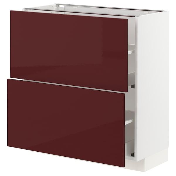 METOD / MAXIMERA Élément bas 2 tiroirs, blanc Kallarp/brillant brun-rouge foncé, 80x37 cm