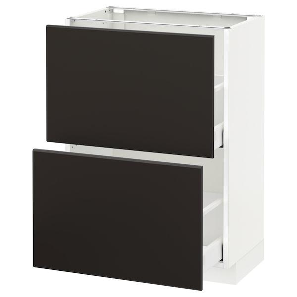 METOD / MAXIMERA Élément bas 2 tiroirs, blanc/Kungsbacka anthracite, 60x37 cm