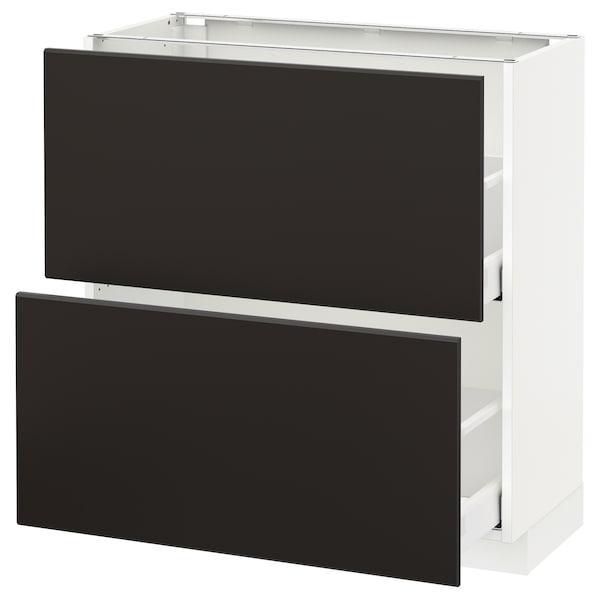 METOD / MAXIMERA Élément bas 2 tiroirs, blanc/Kungsbacka anthracite, 80x37 cm