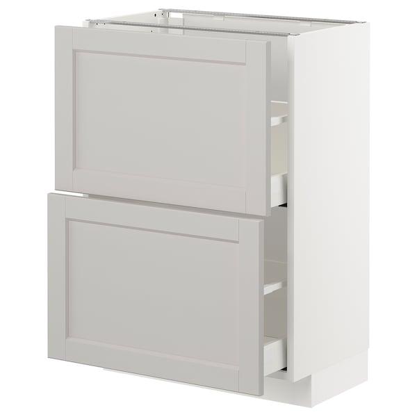 METOD / MAXIMERA Élément bas 2 tiroirs, blanc/Lerhyttan gris clair, 60x37 cm