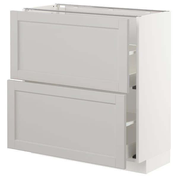 METOD / MAXIMERA Élément bas 2 tiroirs, blanc/Lerhyttan gris clair, 80x37 cm