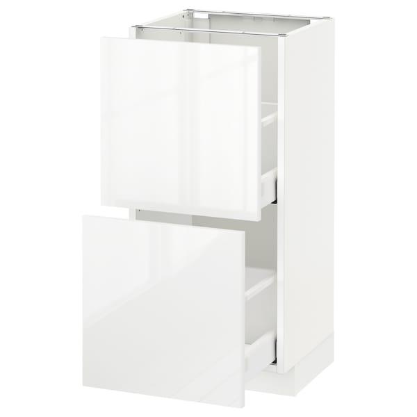 METOD / MAXIMERA Élément bas 2 tiroirs, blanc/Ringhult blanc, 40x37 cm
