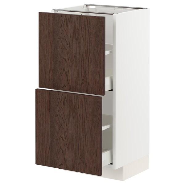 METOD / MAXIMERA Élément bas 2 tiroirs, blanc/Sinarp brun, 40x37 cm