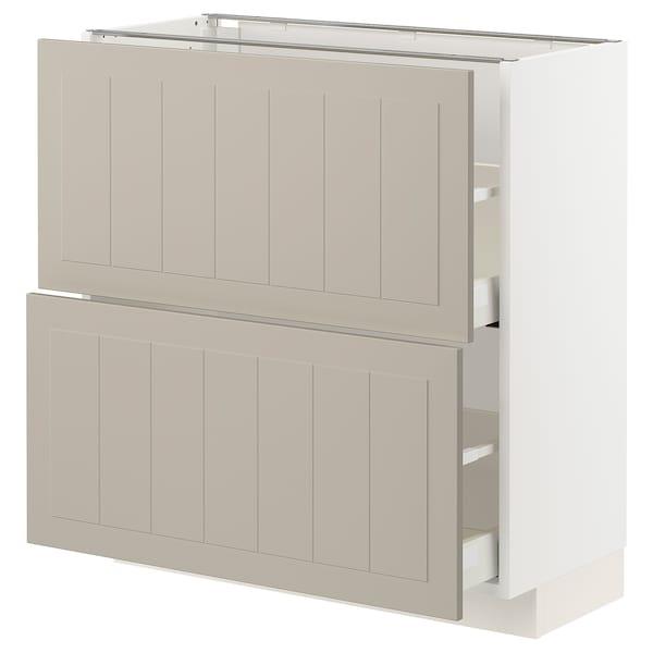 METOD / MAXIMERA Élément bas 2 tiroirs, blanc/Stensund beige, 80x37 cm