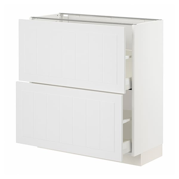 METOD / MAXIMERA Élément bas 2 tiroirs, blanc/Stensund blanc, 80x37 cm