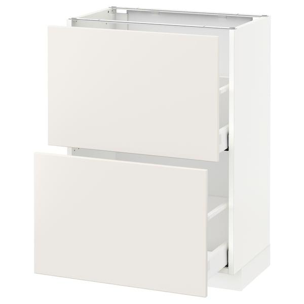 METOD / MAXIMERA Élément bas 2 tiroirs, blanc/Veddinge blanc, 60x37 cm