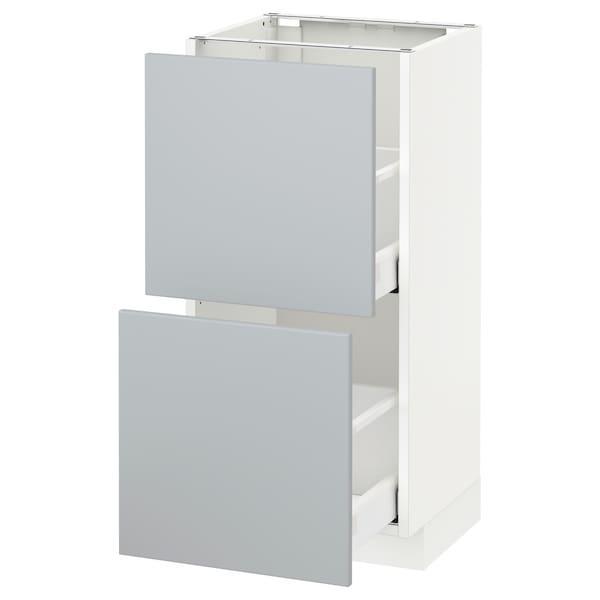 METOD / MAXIMERA Élément bas 2 tiroirs, blanc/Veddinge gris, 40x37 cm