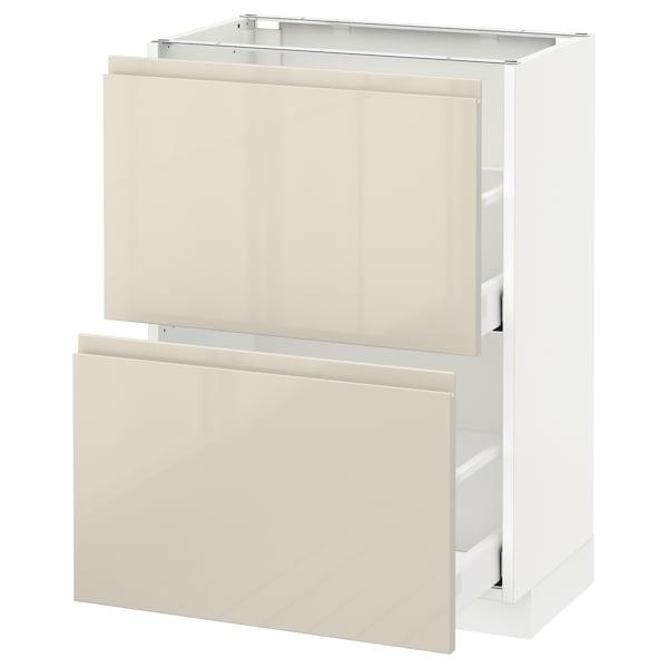 METOD / MAXIMERA Élément bas 2 tiroirs, blanc/Voxtorp beige clair brillant, 60x37 cm