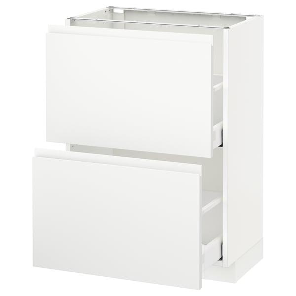 METOD / MAXIMERA Élément bas 2 tiroirs, blanc/Voxtorp blanc mat, 60x37 cm