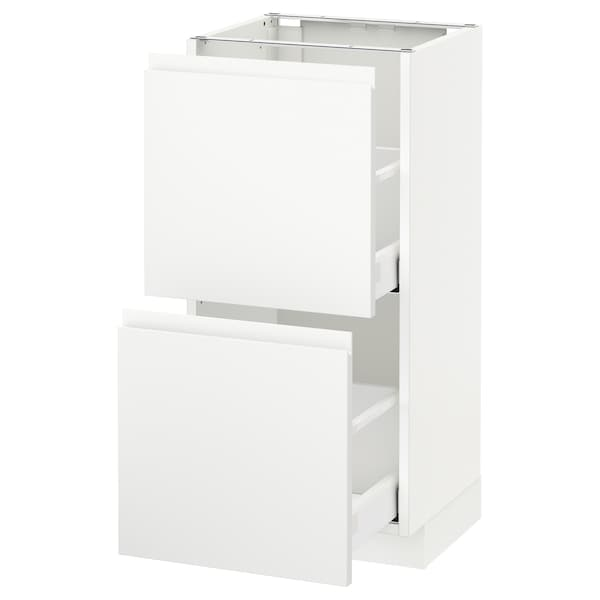 METOD / MAXIMERA Élément bas 2 tiroirs, blanc/Voxtorp blanc mat, 40x37 cm