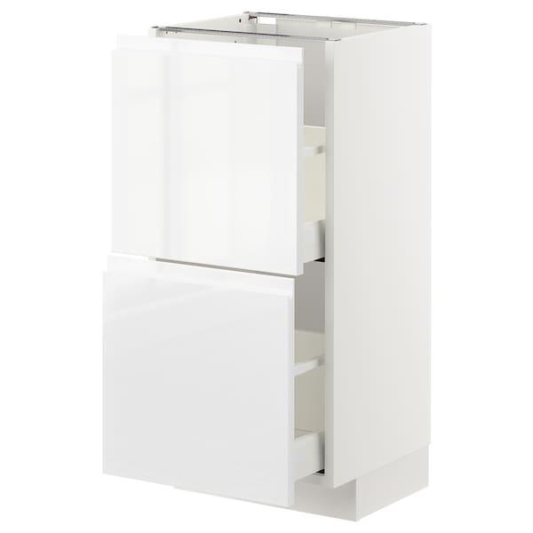METOD / MAXIMERA Élément bas 2 tiroirs, blanc/Voxtorp brillant/blanc, 40x37 cm