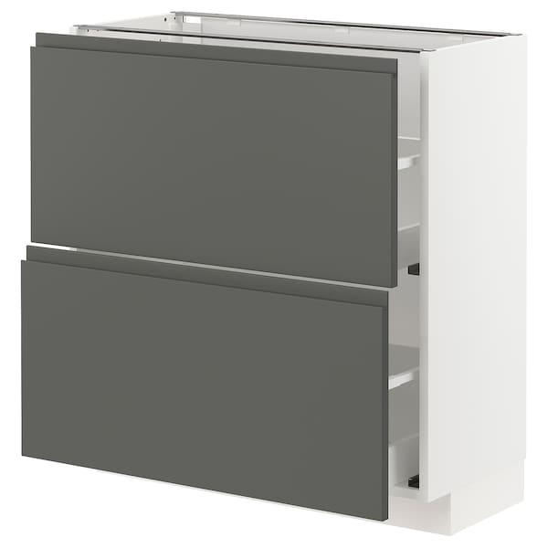 METOD / MAXIMERA Élément bas 2 tiroirs, blanc/Voxtorp gris foncé, 80x37 cm