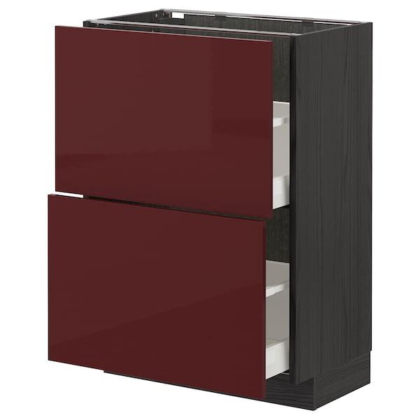 METOD / MAXIMERA Élément bas 2 tiroirs, noir Kallarp/brillant brun-rouge foncé, 60x37 cm