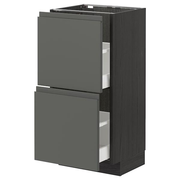 METOD / MAXIMERA Élément bas 2 tiroirs, noir/Voxtorp gris foncé, 40x37 cm
