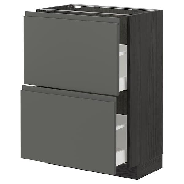 METOD / MAXIMERA Élément bas 2 tiroirs, noir/Voxtorp gris foncé, 60x37 cm