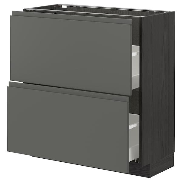 METOD / MAXIMERA Élément bas 2 tiroirs, noir/Voxtorp gris foncé, 80x37 cm