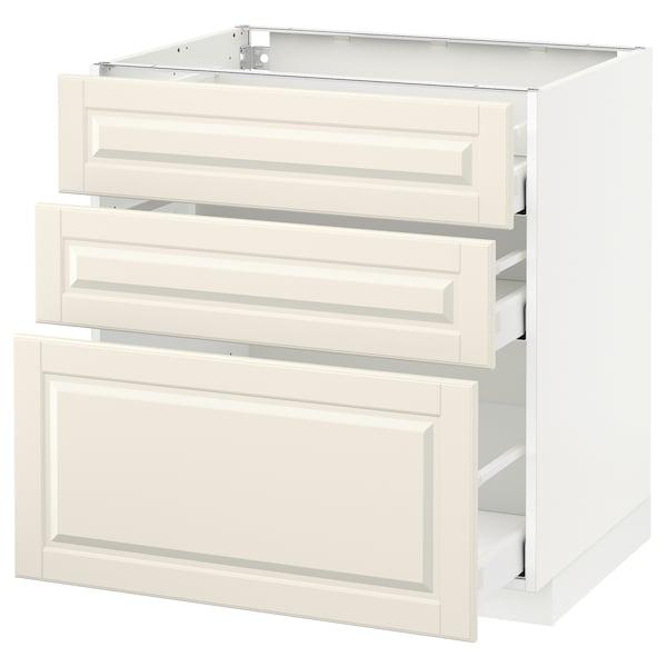 METOD / MAXIMERA Élément bas 3 tiroirs, blanc/Bodbyn blanc cassé, 80x60 cm