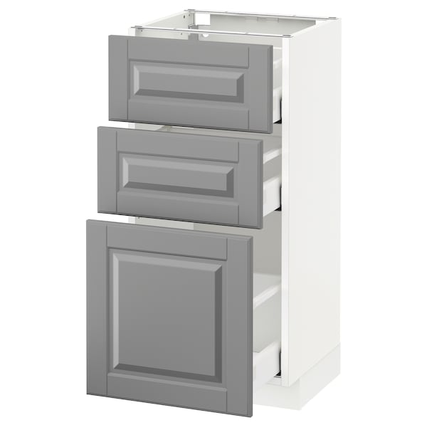METOD / MAXIMERA Élément bas 3 tiroirs, blanc/Bodbyn gris, 40x37 cm