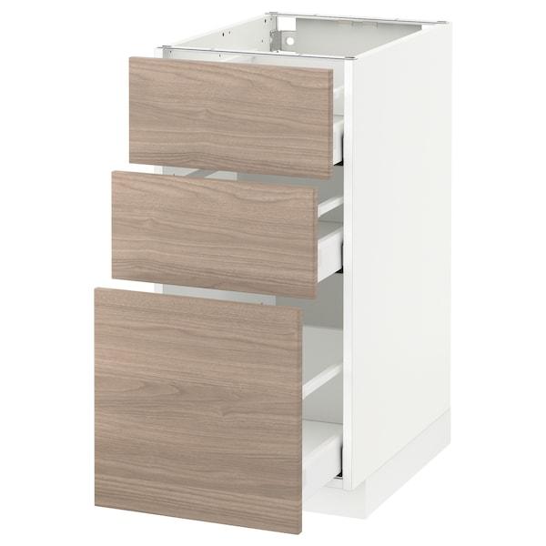 METOD / MAXIMERA Élément bas 3 tiroirs, blanc/Brokhult gris clair, 40x60 cm