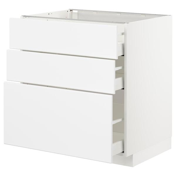METOD / MAXIMERA Élément bas 3 tiroirs, blanc/Kungsbacka blanc mat, 80x60 cm