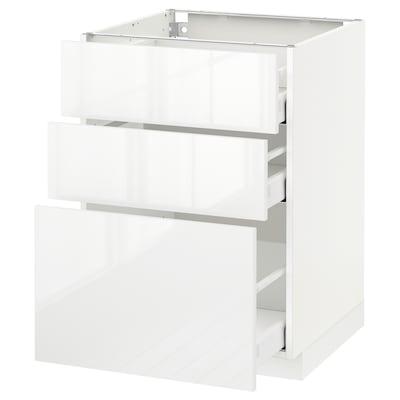 METOD / MAXIMERA Élément bas 3 tiroirs, blanc/Ringhult blanc, 60x60 cm