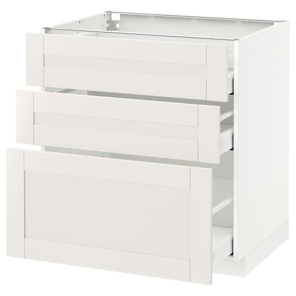 METOD / MAXIMERA Élément bas 3 tiroirs, blanc/Sävedal blanc, 80x60 cm