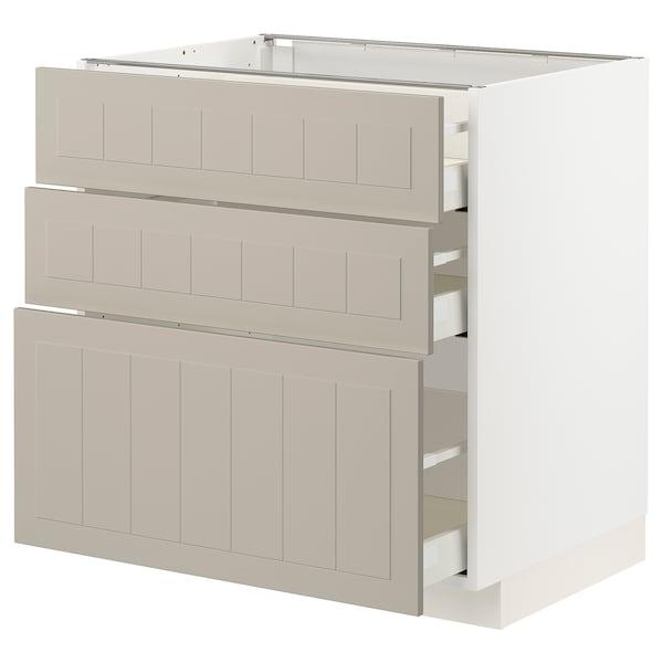 METOD / MAXIMERA Élément bas 3 tiroirs, blanc/Stensund beige, 80x60 cm