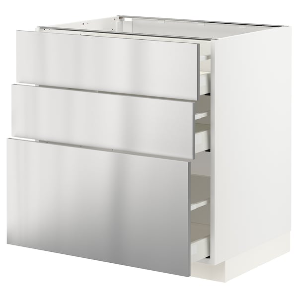 METOD / MAXIMERA Élément bas 3 tiroirs, blanc/Vårsta acier inoxydable, 80x60 cm