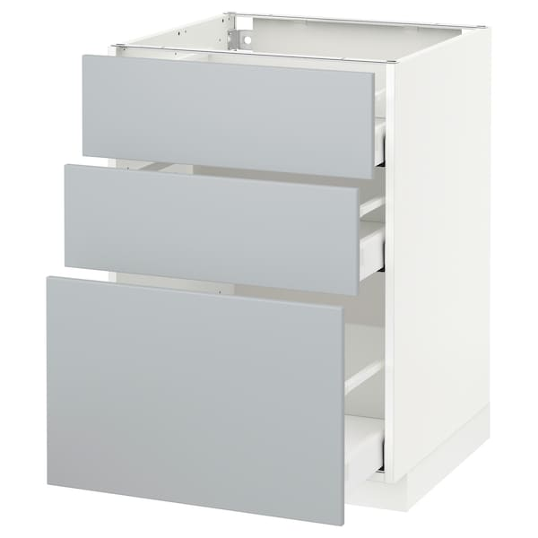 Metod Maximera Element Bas 3 Tiroirs Blanc Veddinge Gris 60x60 Cm Ikea