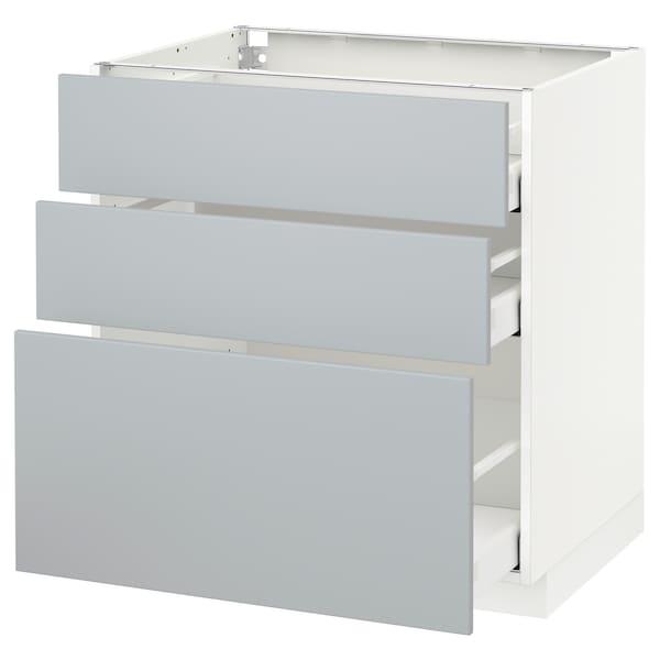 METOD / MAXIMERA Élément bas 3 tiroirs, blanc/Veddinge gris, 80x60 cm