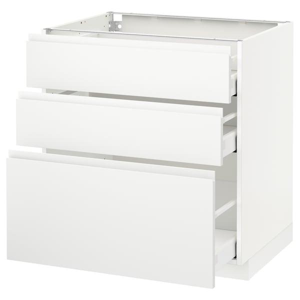 METOD / MAXIMERA Élément bas 3 tiroirs, blanc/Voxtorp blanc mat, 80x60 cm