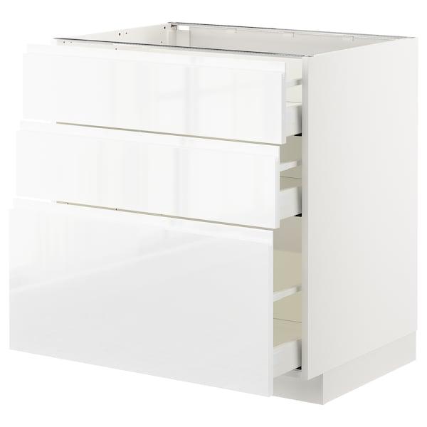 METOD / MAXIMERA Élément bas 3 tiroirs, blanc/Voxtorp brillant/blanc, 80x60 cm