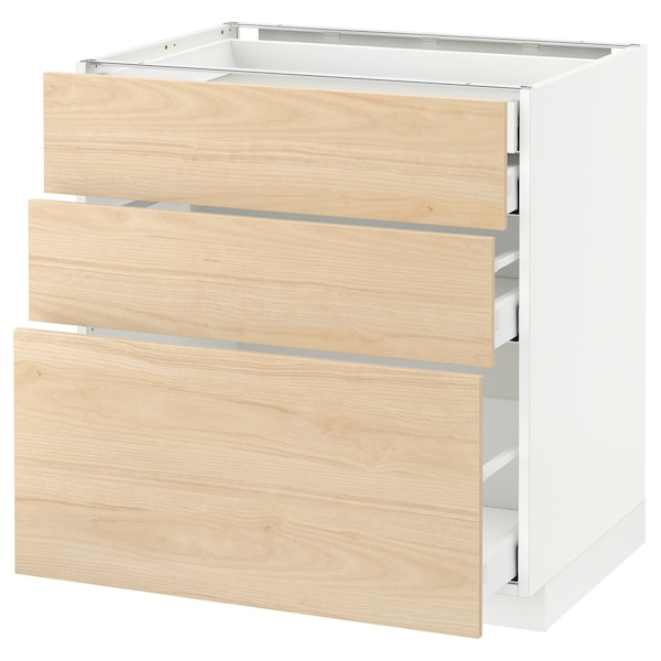 METOD / MAXIMERA Élément bas 3faces/2tir bs+1moy+1ht, blanc/Askersund effet frêne clair, 80x60 cm