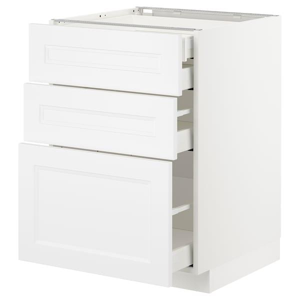METOD / MAXIMERA Élément bas 3faces/2tir bs+1moy+1ht, blanc/Axstad blanc mat, 60x60 cm