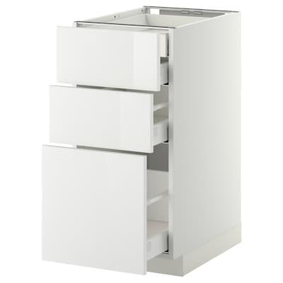 METOD / MAXIMERA Élément bas 3faces/2tir bs+1moy+1ht, blanc/Ringhult blanc, 40x60 cm