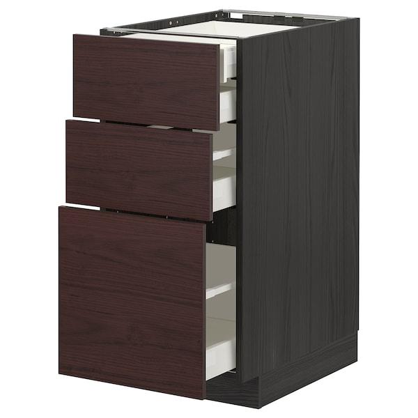 METOD / MAXIMERA Élément bas 3faces/2tir bs+1moy+1ht, noir Askersund/brun foncé décor frêne, 40x60 cm