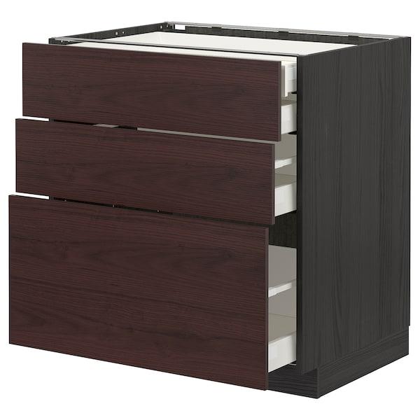 METOD / MAXIMERA Élément bas 3faces/2tir bs+1moy+1ht, noir Askersund/brun foncé décor frêne, 80x60 cm