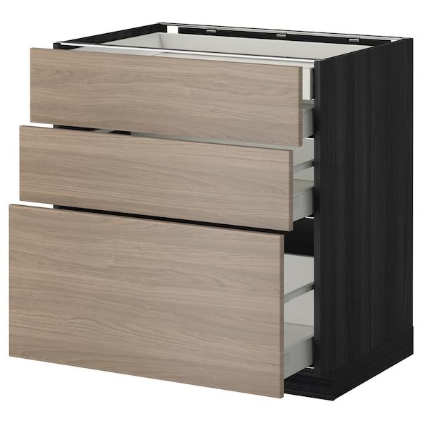 METOD / MAXIMERA Élément bas 3faces/2tir bs+1moy+1ht, noir/Brokhult gris clair, 80x60 cm