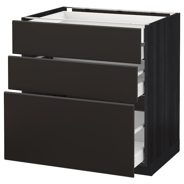 METOD / MAXIMERA Élément bas 3faces/2tir bs+1moy+1ht, noir/Kungsbacka anthracite, 80x60 cm
